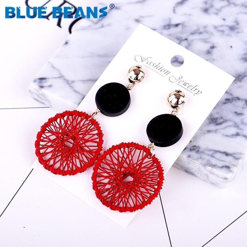 Tassel earrings bohemian trendy statement luxury long earring handmade gifts for women geometric fringe fashion drop wooden boho