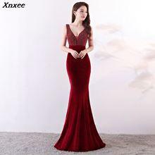 Xnxee Sexy Deep V Beading Wine Red Sleevless Long Mermaid Women Elegant Nightclub Dress Celebrity Evening Party