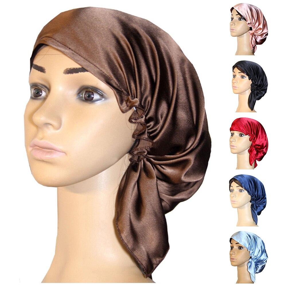 Women Sleeping Hat Adjustable Night Cap Home Satin Bonnet Silk Wrap Hair Care