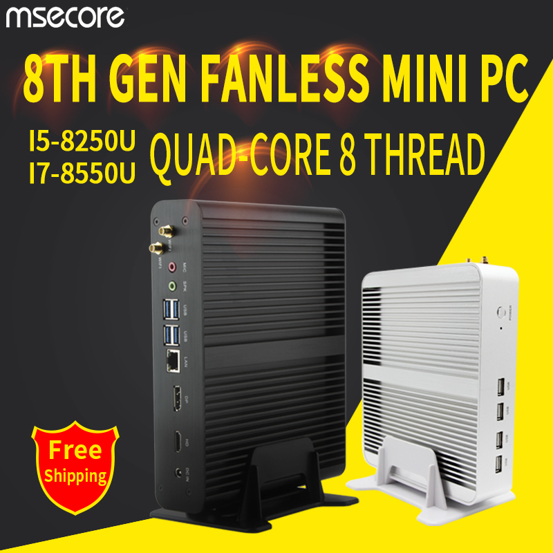 MSECORE i5 8250 i7 8550U DDR4 spiel Mini PC Windows 10 Desktop Computer Nettop fanless pc linux barebone intel HTPC UHD620 wiFi