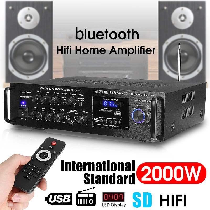 220-240V 2000W Wireless Digital Audio Amplifier 4ohm Bluetooth Stereo Karaoke Amplifier 2 MIC Input FM RC Home Theater Amplifier