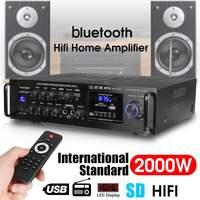 220 240V 2000W Wireless Digital Audio Amplifier 4ohm bluetooth Stereo Karaoke Amplifier 2 MIC Input FM RC Home Theater Amplifier