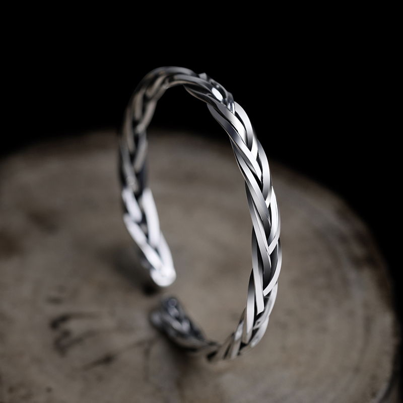 Bangle Bracelets Adjustable Sterling Silver Brand Solid 999 for Man 60cm Inside-Diameter