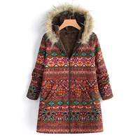 Women Fleece Fur Hooded Coas jackets Chaqueta Mujer Winter Long Sleeve Pockets Coats Retro Printed Outwear Christmas Overcoats