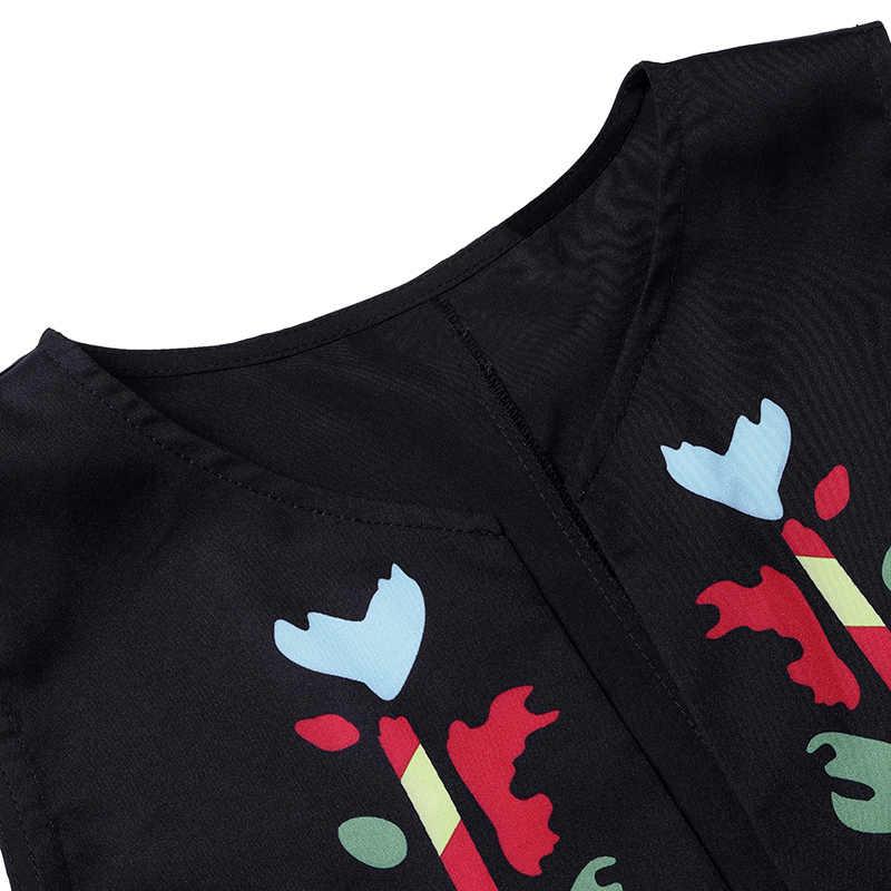Yeni Bohemian kadın baskılı elbise 2020 VONDA yaz seksi kolsuz bölünmüş Maxi uzun elbiseler rahat gevşek Vestidos artı boyutu