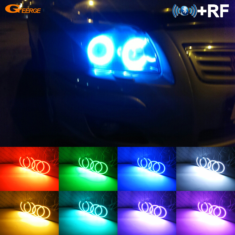 For Toyota Avensis T250 2003-2009 Excellent Angel Eyes kit Multi-Color Ultrabright RGB LED Angel Eyes Halo Rings plancha termica para gorras
