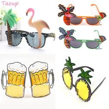 Taupo 1pc Summer Hawaiian Pink Flamingo Glasses Sun Pineapple Party Decor Supplies Luau Tropical Favors DIY