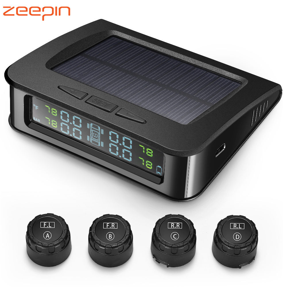 <font><b>ZEEPIN</b></font> <font><b>C220</b></font> Tyre Pressure Monitoring System Solar <font><b>TPMS</b></font> Real-time Voice Alarm IP67 Waterproof LCD Screen with 4 External Sensors image