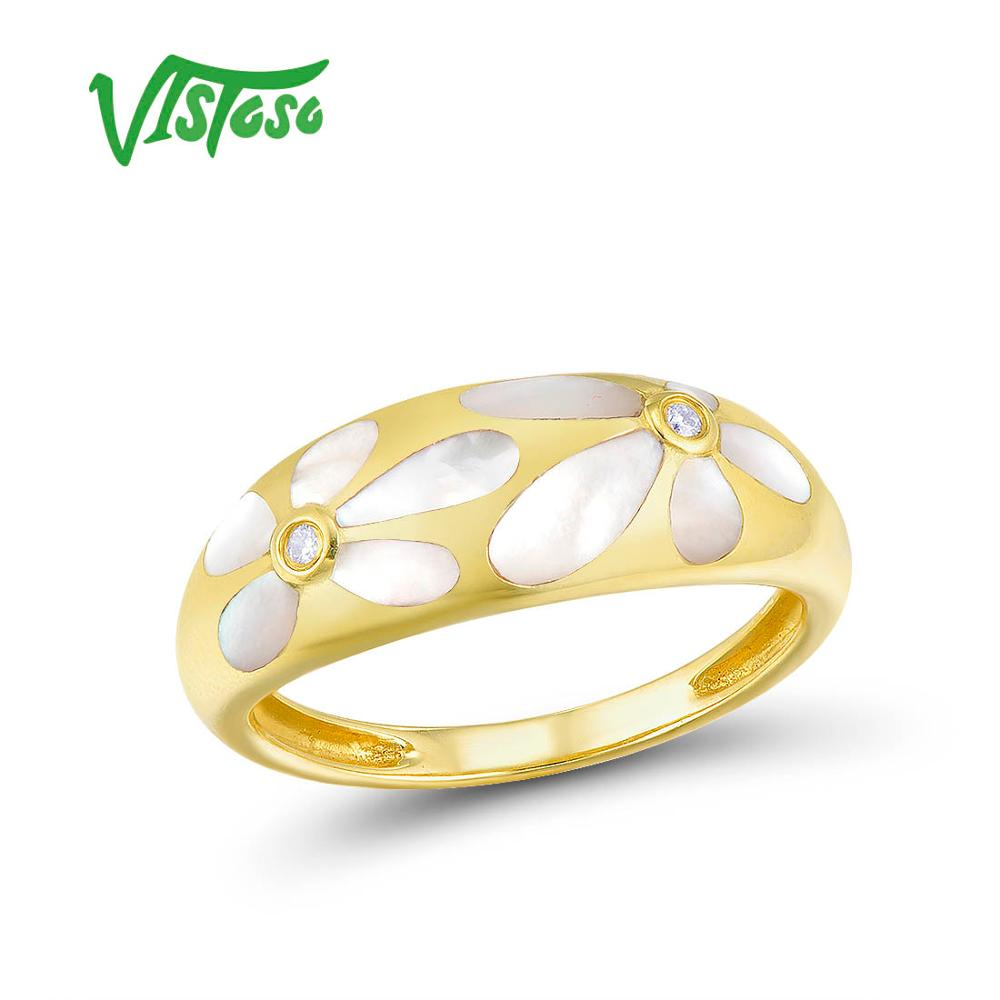 VISTOSO Gold Rings For Women Genuine 14K 585 Yellow Gold Ring Sparkling Diamond White Mother of