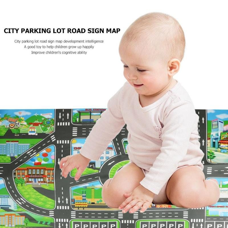 83x58cm Baby Play Mat City Parking Lot Roadmap Map Road Signs Model Car Climbing Mats Toy Kids Play Center Game Center For Kids