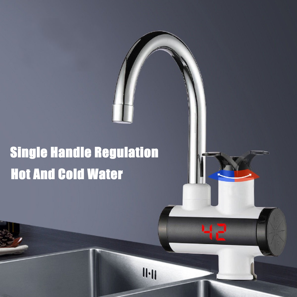 220V 3000W Instant Electric Faucet Tap Hot Water Heater LED Display Bathroom Kitchen Under Inflow/Lateral Inflow IPX4