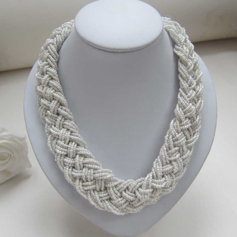 Free shipping 2014 New Arrival White Woven Seed Beads Necklace