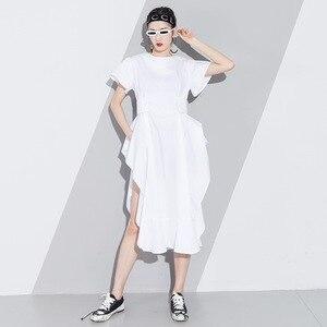 Image 4 - LANMERM 2020 Spring Summer Short Sleeve Asmmetrical High Waist High Vent Dress For Women Female Black White Cloth Vestido WD712