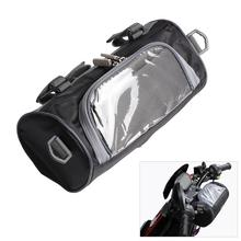 Black Motorcycle Storage Bag Front Handlebar Waterproof Adjustable Fork High Capacity Electric Container Auto Accessories