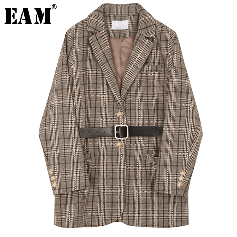 [EAM] 2020 New Spring Autumn Lapel Long Sleeve Coffee Plaid Pocket Stitch Belt Loose Jacket Women Coat Fashion Tide JQ035