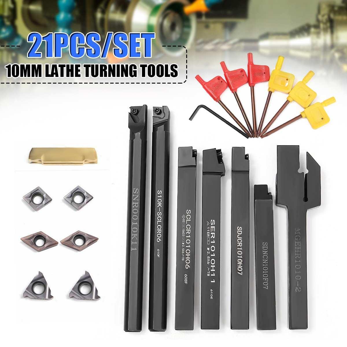 21 pçs/set 10 milímetros Ferramenta Chato Titular Bar + DCMT Inserir Carboneto CCMT com 7 peças Chaves Para Torno Virando ferramentas