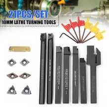 Barra de taladro con portaherramientas, 21 Uds./SET, 10mm + inserto de carburo DCMT CCMT con 7 Uds. De llaves para herramientas de torneado