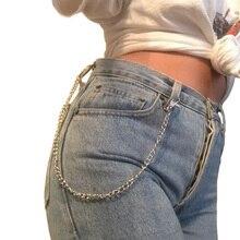 купить Long Metal Wallet Belt Chain Rock Punk Trousers Hipster Pant Jeans Keychain Keyring Men's Hip Hop Jewelry Clip Keyring Silver дешево