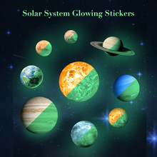 Planet Fluorescent Wall Sticker Removable Glow In The Dark Sticker Kids Living Room Adesivo De Parede starts and nine planets the planets
