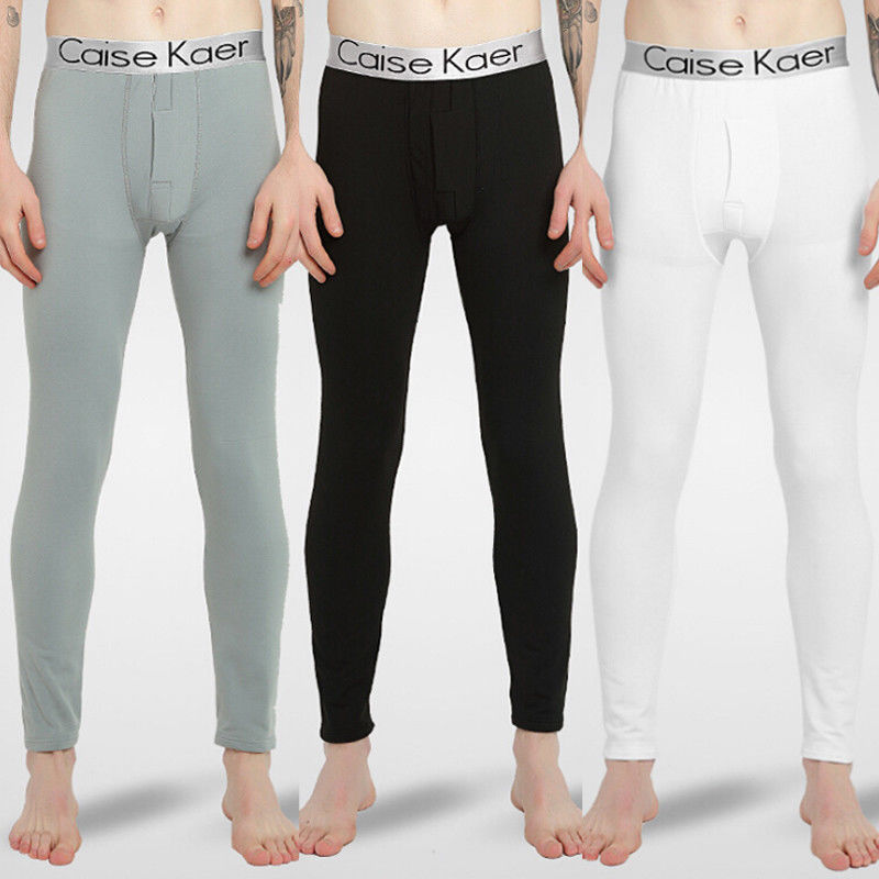 Men Sleep Bottoms Winter Underwear Men Long Underwear Warm Nylon Legging Pants Thermal Trousers