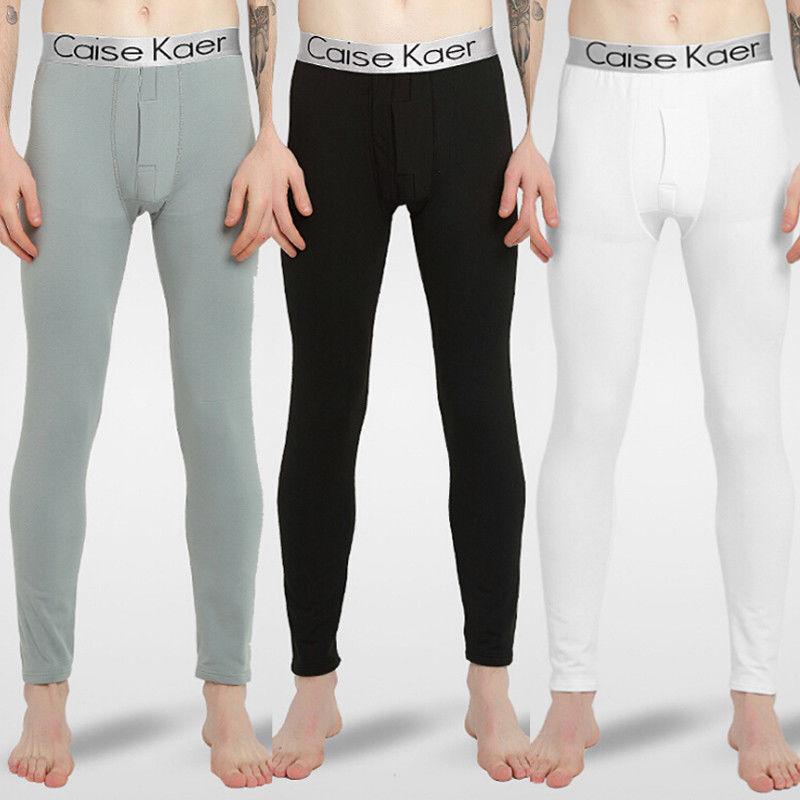 Men Sleep Bottoms Winter Underwear Men Long Underwear Warm Nylon Legging Pants Thermal Trousers