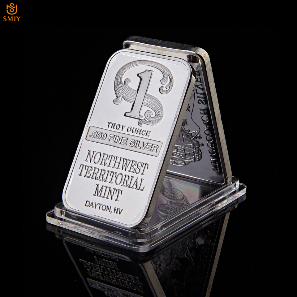 Quality 1 Troy Ounce .999 Fine Sliver Plated Northwest Territorial Mint Dayton NV Replica Bullion Bar Silver Coin Souvenir Drop