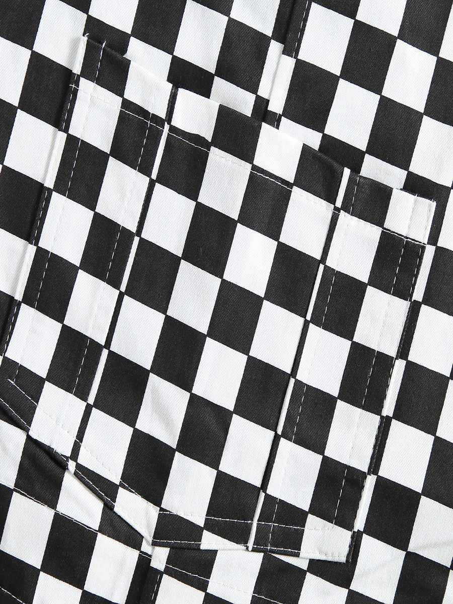بنطلون بألوان سوداء وبيضاء منقوش على شكل الشطرنج وشعرية مناسب للنساء والرجال سراويل بمريلة فضفاضة طراز الهيب هوب جديد من المدرسة القديمة بتصميم عتيق