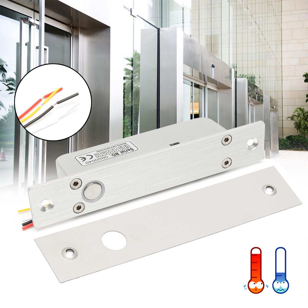 12/24V Electric Temperature Bolt Lock for Door Delay Lock Assembly Solenoid Lock Tongue For Door Drawer Aluminium Alloy12/24V Electric Temperature Bolt Lock for Door Delay Lock Assembly Solenoid Lock Tongue For Door Drawer Aluminium Alloy