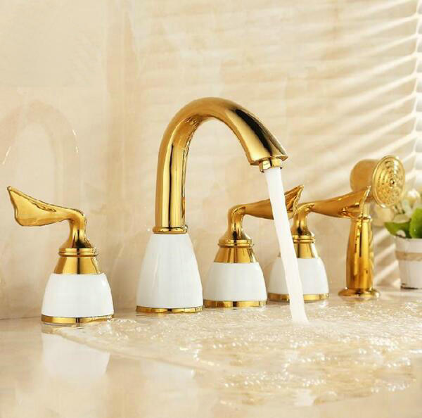 Free shipping New Design 5 Pcs Gold Polished Solid Brass white ceramic Bathroom Basin Sink Mixer