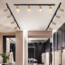 Oświetlenie w stylu nordyckim luksusowe miedzi utwór reflektory LED lampa sufitowa salon tło na ściany alejek bar GU10 85 265V złote lampy Oświetlenie toru Lampy i oświetlenie -
