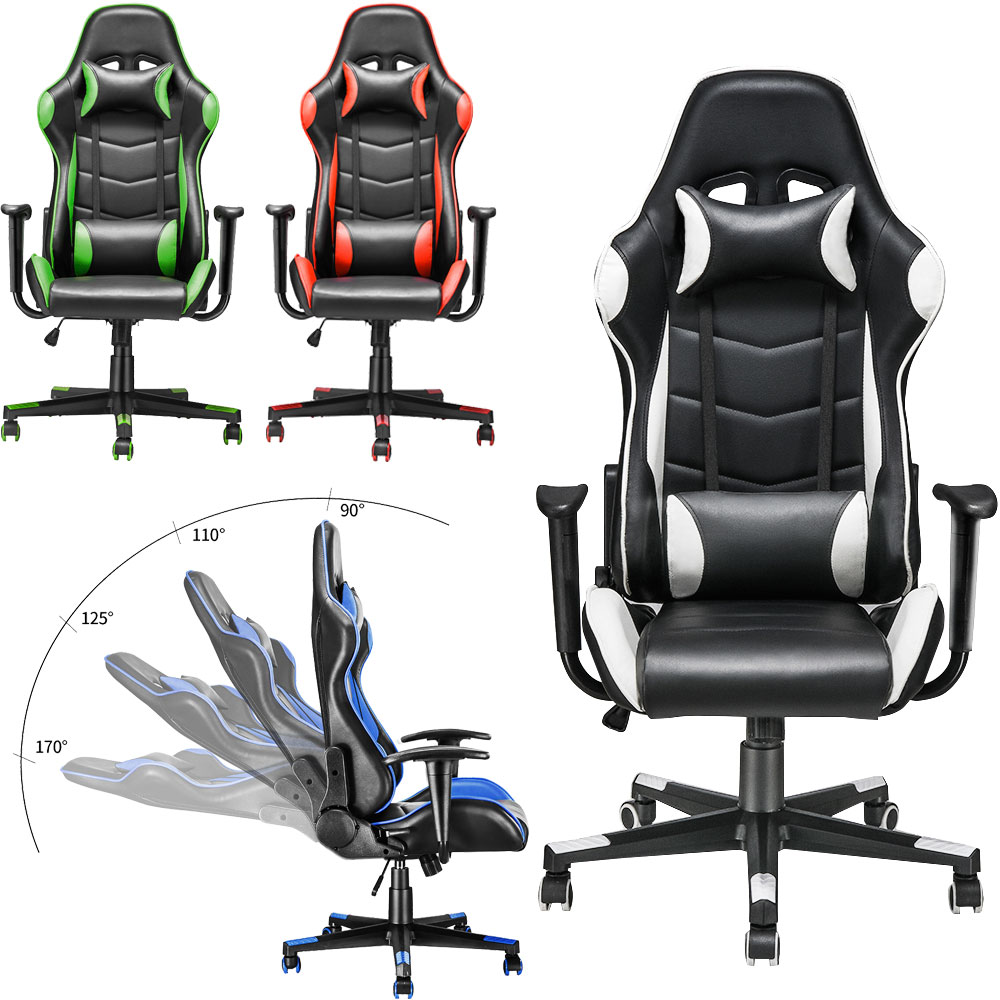 Panana Adjustable Office Chair Ergonomic High-Back Faux Leather Racing Bedroom Computer Game Chairs Reclining Seating