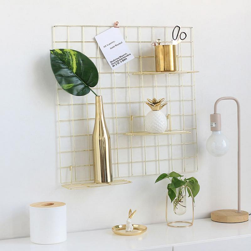 Nordic Minimalist Modern Wall Grid Wrought Iron Photo Wall Hanging Rack Plate Mini Rack Partition Home Decoration Basket