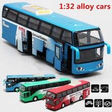1:32 Сплав модели автомобилей Высокая моделирования городской автобус Металл Diecasts игрушечные транспортные средства оттягивать мигающий музыкальный для детей Рождественский подарок