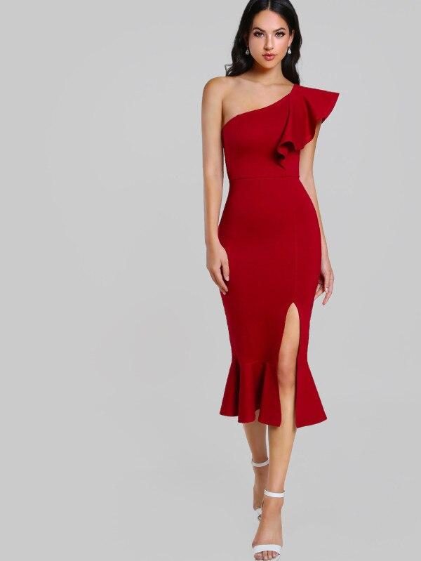 740e14fd7b8f Las-mujeres-negro-Sexy-un-hombro-vestido-Bodycon-vendaje -rojo-volantes-tenedor-abierto-2018-moda-vestido.jpg