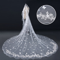 Romantic Ivory Cathedral Bridal Veils Fabric Butterfly Appliqued One Layer Wedding Long Veil Handmade