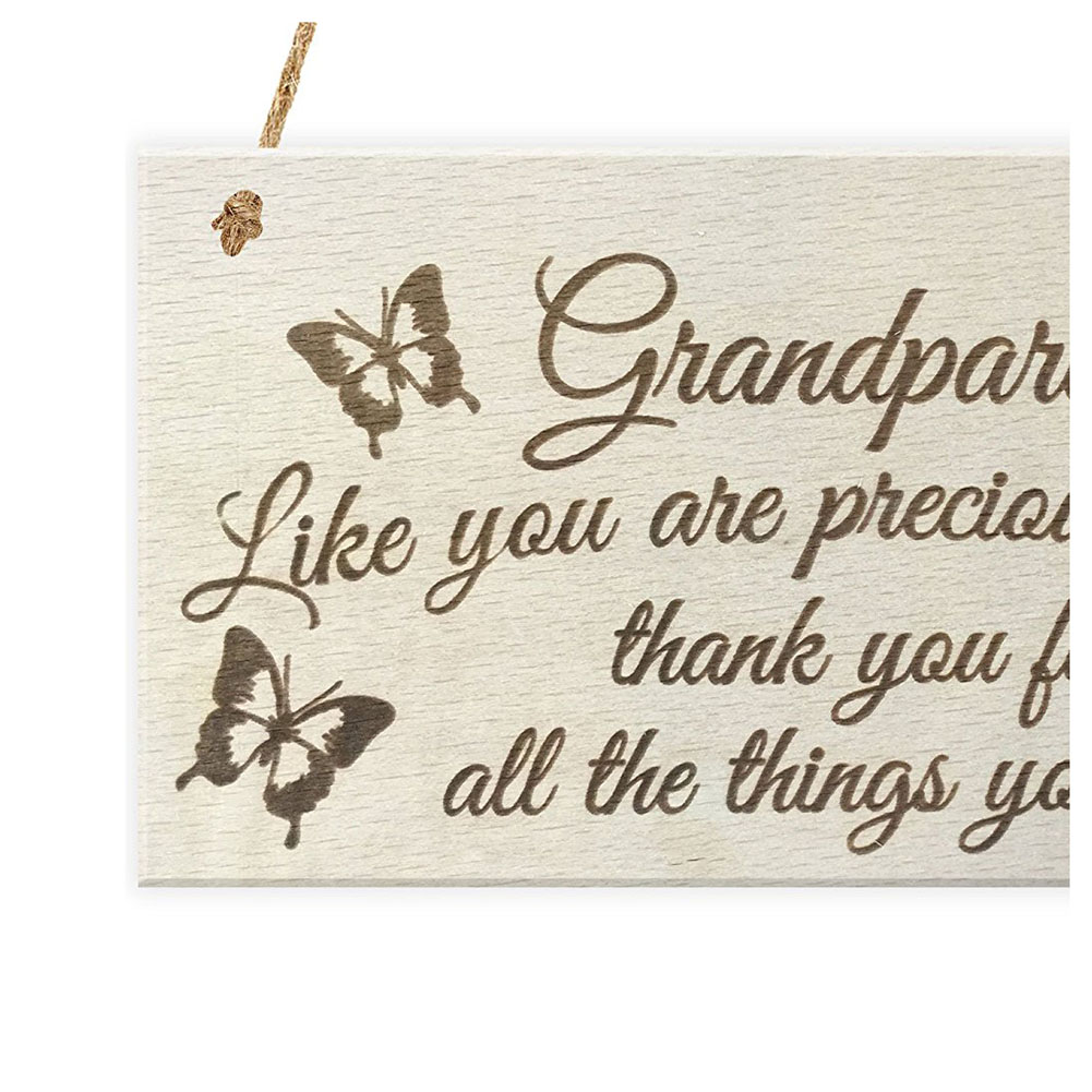 Grandparents Like You Are Precious And Few Thank You For All The Things You Do Wooden Hanging Plaque Sign Love Gift in Plaques Signs from Home Garden