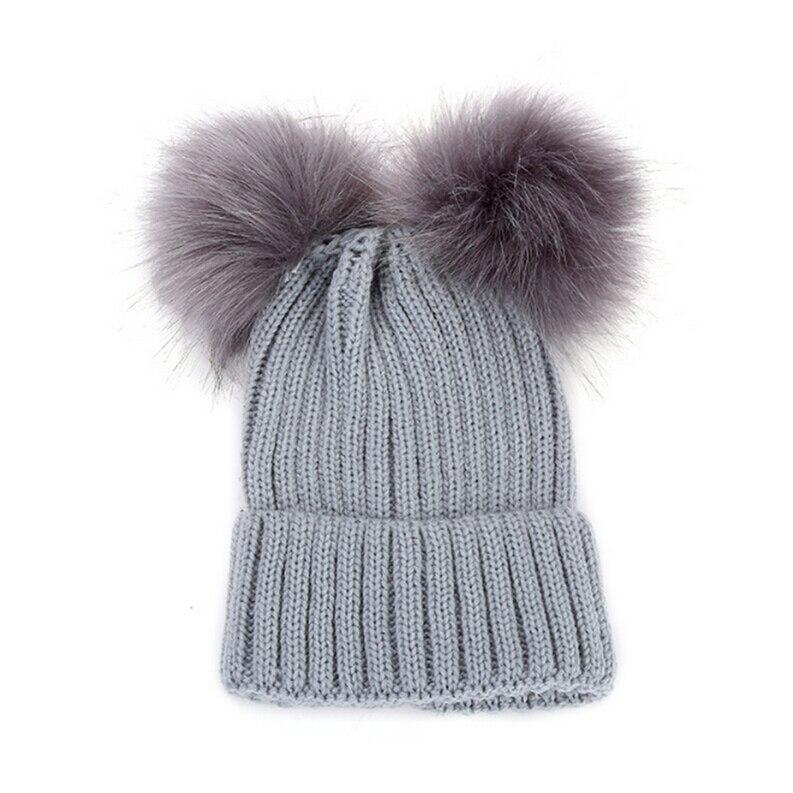 Child Baby Girls Beanie Hat Cap Winter Warm Double Fur Pom Bobble Knit 14-17cm
