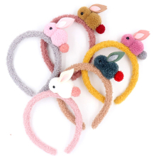 New handmade animal cartoon headband plush rabbit design cute unique headdress girl pompom rubber bands 6 color hair accessories