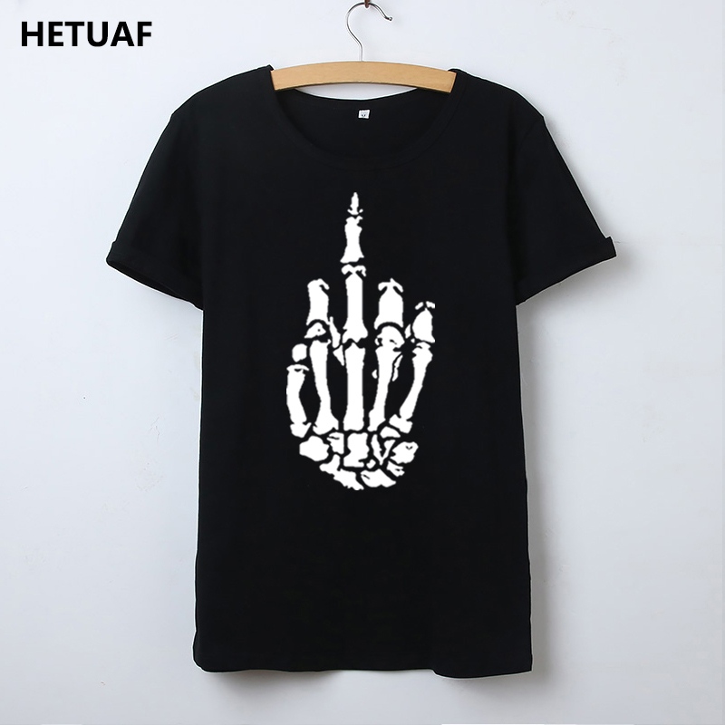 HETUAF Skeleton Gesture Graphic Tees Women Tshirt Skull Cool 2018 Hipster T Shirt Women Tops Punk Rock Funny Camisetas Mujer