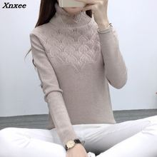 цены 2018 new winter women's head sweater female head sleeve slim turtleneck sweater Blouse Shirt Xnxee