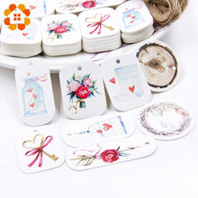 50PCS/Lot Beautiful Paper Tags with Hemp Rope Wedding DIY Package Party Decorations Mariage Valentines Day Gifts Decor Supplies(China)