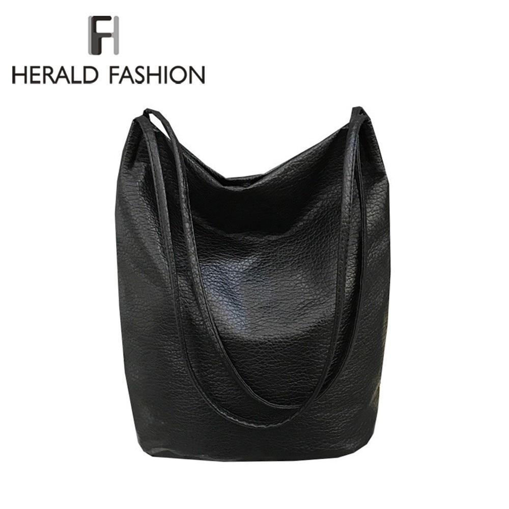 Herald Fashion Women's Soft Leather Handbag Quality Female Shoulder Bag Casual Bucket Bag Ladies' Messenger Crossbody Bag Sac