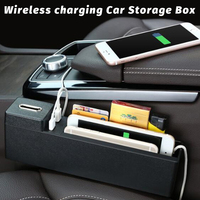 1pcs Black Wireless charging Car Seat Crevice Storage Box multi function For Books Phones Cards Cigarette Coins