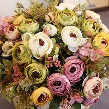 Artificial Flowers Silk Fake Tea Rose Floral Camellia for Wedding Party Home Decoration Bouquet WXV Sale
