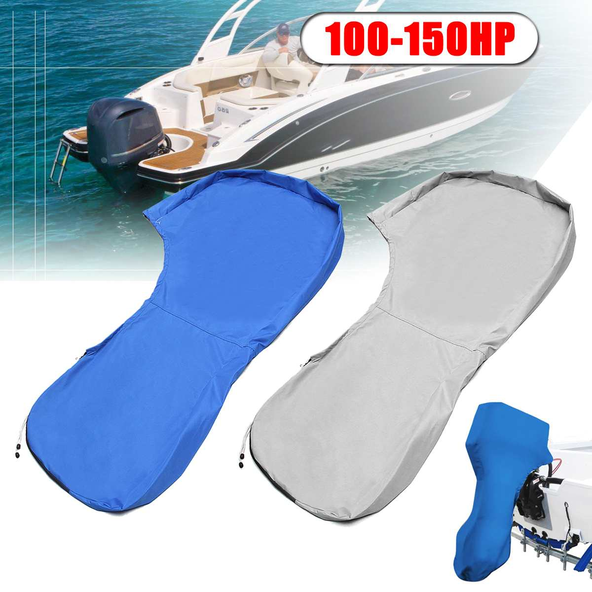 77.56 Inch 600D Boat Full Outboard Engine Motor Cover For 100-150HP Hose Power Waterproof