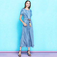 2019 Summer women's classic o-neck high waist denim jumpsuit female tie waist slimming casual jumpsuit summer NW19B6099 недорого