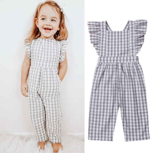 Kids Girls Jumpsuits Summer Baby Girl Ruffles Plaid Overalls Jumpsuit Girls  Sunsuits Children Clothes Overalls  - AliExpress