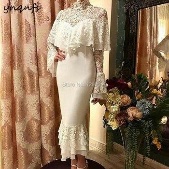 YNQNFS E44 Elegant Tea Length High Neck Long Sleeve Ruffles Lace Off White Evening Dress 2019