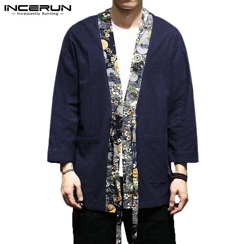 INCERUN Vintage Men   Trench   Coat Outerwear Long Sleeve Lace Up Pockets Cotton Streetwear Kimono Male Cardigan Jacket Hombre L-5XL