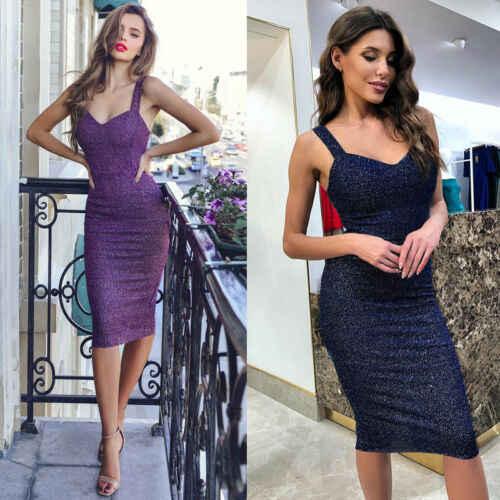 2019 Women Slim Sexy Hot Skinny Formal Purple Bandage Bodycon Sleeveless Stylish Cocktail Party New Short Shinning Dress V neck
